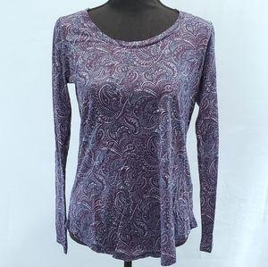 NWT Lucky Brand Women's Purple Paisley Lon…